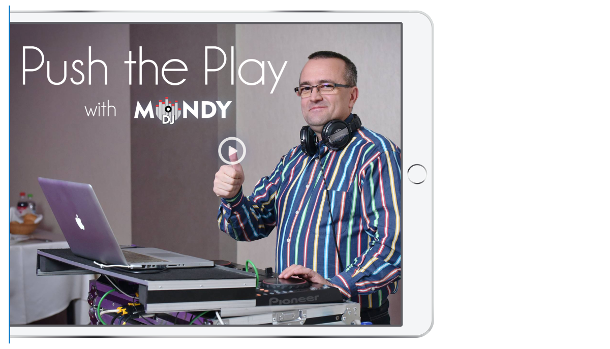bluedesign / design your future - clean design for your social media services and products - push the play button dj mondy